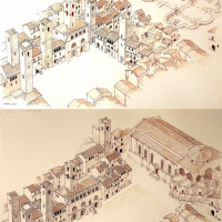 Fig. 15. Reconstruction of Piazza del Popolo during the Middle Age and the late Middle Age (by G. Giorgi)