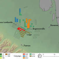 """Fig. 3. Sample area of the """"Bassa Romandiola"""" project, with the different field campaigns carried out. Base map: shaded Tinitaly DEM (Istituto Nazionale di Geofisica e Vulcanologia)."""