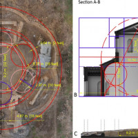 Fig. 8. A) measures in meter and roman feet (approximated) and proportions of the geometrical features found in the layout of the trefoil hall; B) reconstructive section A-B of the hall with roman modules and proportions applied to the wall elevations; C) section A-B of the digital replica of the hall.