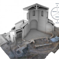 Fig. 7. Reconstructive volumes of the hall realized through polygonal modelling directly on the digital replica of its actual state of conservation and chart of the reconstruction process.