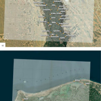 Fig. 5: a) The image shows how there is greater correspondence between the satellite image (Esri satellite) and the georeferenced maps in plate XIV using manual georeferencing based on metric scale correction. The shift between the satellite image and the historical cartography south of the village of Balansura along the course of the Bahr Yussef remains evident. b) The image shows how there is greater correspondence between the satellite image (Esri satellite) and the georeferenced maps in plate XL using manual georeferencing based on metric scale correction. The shift between the satellite image and the historical cartography decreases with this method also for the Delta area as demonstrated by the case of Kom el-Khanziri.