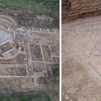 Fig. 1. A) aerial view of the archaeological site. At the top right the foundations of the trefoil hall and ambulatio are still visible. The red arrow highlights the position of the detail B within the site; B) detail of the preserved floor of the trefoil hall.