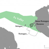 Fig.1. Northern Italy and the Po Valley, the Romagna region, and the area investigated (the Bassa Romagna).