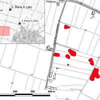 Fig. 4. In red, nucleated sites located around Bagnacavallo, RA (Image elaborated starting from Fig. 3, in Cavalazzi et al., in press).