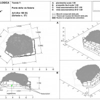 Fig. 4. Ruins of the Roman Bridge near Ponte d'Arli. Different views from the topographical survey (by M. Silani)