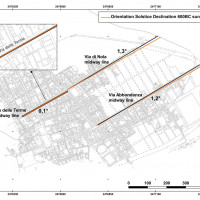 Fig. 8. Comparing the orientation of street centrelines (black) with the direction of the sunrise upper limb rising on summer solstice in 600 BC (orange lines). All orange lines are created parallel to each other's starting from the one at Via dell'Abbondanza, obtained after fieldwork measurements and data analysis for the sun position. The geometrical translation is possible due to the sun infinite distance in respect to the urban dimensions, since at that precise moment the sun has the same azimuth (60°.37) for the whole plateau of Pompei (elaborated by Michele Silani).