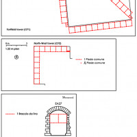 Fig. 11. Castle in Carbonana (Gubbio, PG). Schema of the identification of two ancient units of measurement (elaboration A. Fiorini; survey D. Ripa di Meana, B. Salvatici). Above, the ground plan of the fortified tower.