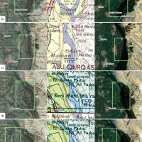 Fig. 9: Diachronic evolution of the geomorphology of the islands located in the 16th nomos of Upper Egypt. The maps shown are from the left: Carte topographique georeferenced and overlayed on a satellite image (Esri Satellite), 4085-Great Britain War Office-U.S. Army Map Service-1941 and Esri Satellite. a) Island located south of Gerizet el-Sheick Timai; b) Island of Gerizet el-Sheick Timay; c) Island located south of the village of Nuwayr; d) Island of Geziret el-Mathâhâréh; e) Island located north of Geziret el-Mathâhâréh; f) Island located north of Minya to the east of the village of Damris.
