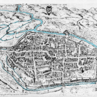 Fig. 3. View of the town of Terni on a drawing by Domizio Gubernari. In top the confluence of the Serra into the Nera (reworked version of Angeloni 1646).