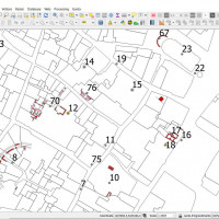 Fig. 12. Screenshot of the QGIS project showing the base cartography and the numerated archaeological evidences.