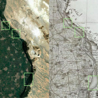 Fig.8: The image shows the islands present in the Esri satellite image (left), but which do not appear in the Carte topographique d'Égypte (right).