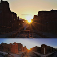 """Fig. 9. Top: Rising of the sun at summer solstice from """"Via dell'Abbondanza Station"""", Pompeii, 21st June 2020. Consider that the position of the sun in the 7th -6th cent. BC was half a degree on the left than nowadays (photo by Ilaria Cristofaro). Below: Panorama image of the rising of the sun at summer solstice from """"Via di Nola Station"""", with Via Vesuvio on the left and Via Stabiana on the right, Pompeii, 21st June 2020 (photo by Carlo Rescigno)."""