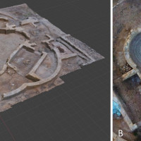 Fig. 5. Outputs of the photogrammetric and optimization processes. A) digital model of the trefoil hall, in its current state of preservation, visualized in a computer graphic software (Blender); B) high-resolution orthoimage of the hall.
