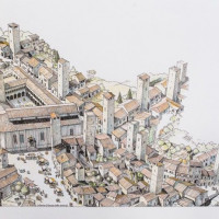 Fig. 21. Reconstruction of Piazza del Popolo during the Middle Age (by G. Giorgi)