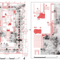 Fig. 15. Overlap of the De Caro excavations map to the GPR mapping. On the right, particular zoom on the east side of the podium.