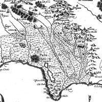 Fig. 1. Excerpt from G.A. Magini map, 1620. The Pontine region is characterized by the typical pattern of marsh areas.