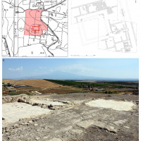Fig. 9. Sicily, Contrada Castellito (Ramacca), the Roman villa, 3rd-5th century CE: its position in CTR cartography, s. 633100 (A); plan of the excavations (B); the view on the North-East sector of the site.