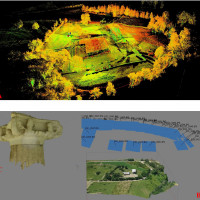 Fig. 2:  A- Laser scanner Leica P30 Point cloud: B- Image based photogrammetric mapping of the site of the sanctuary; C- Image based photogrammetric mapping of the architecture of the sanctuary.