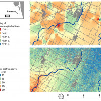Fig. 6. Interpolated raster of the surface soil geomorphological stability through off-site and site artefacts, in the area of Cotignola (RA). Authors: Alice Ferrari and dr. Marco Cavalazzi.