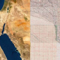 Fig. 1: To the left the entire coverage of the 4085-Great Britain War Office-U.S. Army Map Service-1941 overlayed on a satellite image (Esri satellite), on the right a detail of the Delta area of the same cartography.