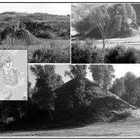 Fig. 1. Views of Cozzo Rotondo from the west, at the entrance of the Grifone valley. Top left: picture from 1986. Top right and bottom: the hillock today.