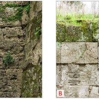 Figure 11. Evaluation of the intensity of the phenomenon of biological colonization on the stone surface. Image A: Wall surface of the Left Bastion of Porta Nola. Image B: wall surface of the section between Porta Nola and the left Bastion