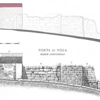 Fig. 9. Porta Nola, perspective drawing north of the atrium. Comparison between the new survey and that of the 1930s (Maiuri 1930, Tav. XI)
