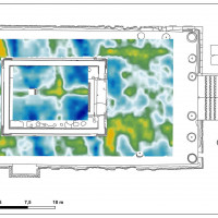 Fig. 14. GPR survey in the podium. Time-slices relative to depths between 0.40 and 0.70 m.