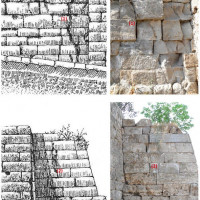Figure 16. Comparison between the representation by Maiuri from 1930 (on the left) and the state of the wall in September 2017 (on the right). Above: wall structures near the left bastion of Porta Nola. Under: structure for runoff water near Porta Nola