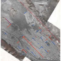 Fig. 3. Two periods of centuriation at Butrint based on a 1943 RAF aerial photograph (courtesy of David Bescoby)