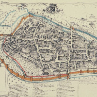 Fig. 11. Anonymous, view of the city od Terni (Barb. Lat. 9901, f.96, second half of 17th Century). Reworked version; the defensive walls after the most recent expansion of the 15th Century, the rivers and some channels have been highlighted. The red line marks the hypothetical Roman perimeter.