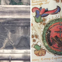 Fig. 6. Palazzo Lettimi. On the left the crest identified in the frieze of a window in the palace; to the right the noble crest of the Maschi family on a map from 1465 (from Mariani Canove, Meldini, Nicolini 1988,52).