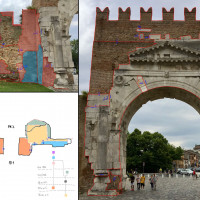Fig. 10. Arch of Augustus. Stratigraphic annotations recorded in the field using a PC tablet.