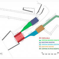 Figure 17. Planimetry of the architectonic complex of Porta Nola with the identification of six macro-elements