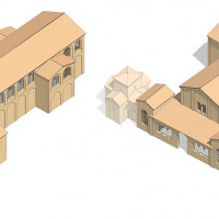 Fig. 5. Ravenna, architectonic complex of S. Croce. Hypothetical reconstruction of the first two phases (from David 2013, 148-149, pl. 4-5).