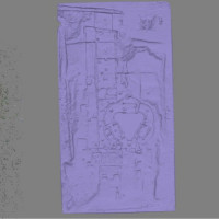 Fig. 4. Data processing in Photoscan. Dense point cloud computation through DSM algorithms; Solid mesh model obtained by point triangulation; Textured model by projection of images.