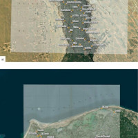 Fig. 4: a) The image shows the result of the georeferencing through visual recognition of control points of the XIV plate of the Carte topographique de l'Égypte overlayed on a satellite image (Esri satellite). It is evident that in the southern part of the map the margin of error increases significantly, especially near the Bahr Yussef. b) The image shows the result of the georeferencing through visual recognition of control points of the XL plate of the Carte topographique de l'Égypte overlayed on a satellite image (Esri satellite). Near the city of Rosetta, the margin of error between the cities is about 1.5 kilometers. In the Delta area, as the example of Kom el-Khanziri shows, the shift amounts to 3 kilometers.