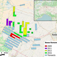 Fig. 1. Case study area and the sampling strategy of the Bassa Romandiola Project: transects with numbers have been already investigated, while the ones in pale blue have not yet.