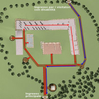 Fig. 7. The proposed circular itinerary for the site of Monte Rinaldo, with integrated blocks indicated with red arrows. Blue arrows indicate the itinerary from the entrance for visitors with disabilities to the main entrance, where the visit starts.