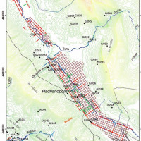 Fig. 11. Topographical Map with the centuriation of the Drinos Valley (red lines) and with the main rivers (Giorgi, Bogdani 2012)