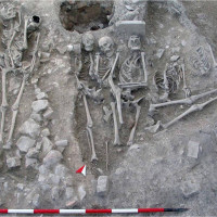 Fig. 10 Area in front of nartex during the Medieval phase with intercutting graves