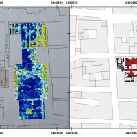 Fig. 12. GPR slice-maps of Piazza del Popolo and integration with cartographic and archaeological data related to the flanking Palazzo dei Capitani (on red in the left)