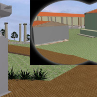 Fig. 9. Observational binoculars located in special points of view, with the possible reconstruction of the sanctuary 'La Cuma' applied to the lenses, as planned in the project.