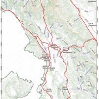 Fig. 12. Map with the reconstruction of the main Roman roads along the Drinos, Bistrica and Pavla Rivers coming from the Via Egnatia roads system(Giorgi, Bogdani 2012)