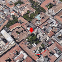 Fig. 3. Area of dense vegetation under which the remains of Palazzo Lettimi can be found. Further down: a curved line in the urban fabric due to the presence of structures pertaining to the Roman Theater (satellite image Google Earth).