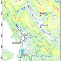 Fig. 2. Topographical Map of Chaonia Region with the main Rivers and Towns (Giorgi, Bogdani 2012)