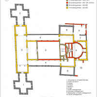 Fig. 6. Ravenna, architectonic complex of S. Croce. Overall plan indicating the different phases of the buildings (from David 2013, 152, pl. 8).