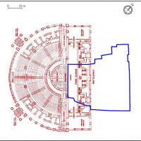 Fig. 9. Palazzo Lettimi. In blue, the outline of the surface area of the Renaissance building. In red the Roman theater of Ferento (Viterbo, VT) resized based on the known structure of the theater of Rimini (developed by Pensabene 1989, 14, fig. 5).