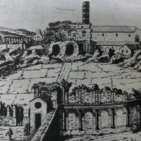 "Fig.4: The utilization of the ""Anfiteatro Castrense"" in the Aurelian walls of Rome in an engraving by E. Du Pèrac, 1575."