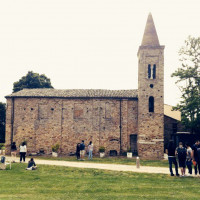 Fig. 12. Parish church of S. Apollinare in Longana (Ravenna). Students during the field work.